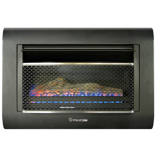 ProCom Ventless Linear Wall Gas Fireplace - 26,000 BTU, T-STAT, Model: MH30TBFL- (110107)