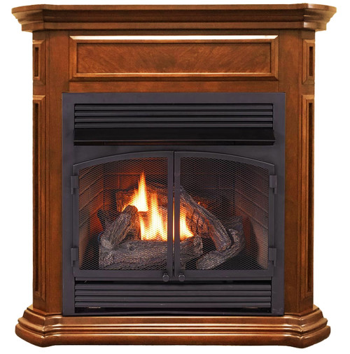 Duluth Forge Dual Fuel Ventless Gas Fireplace - 32,000 BTU, T-Stat Control, Apple Spice Finish, Model DFS-400T-4AS (179210)-Front
