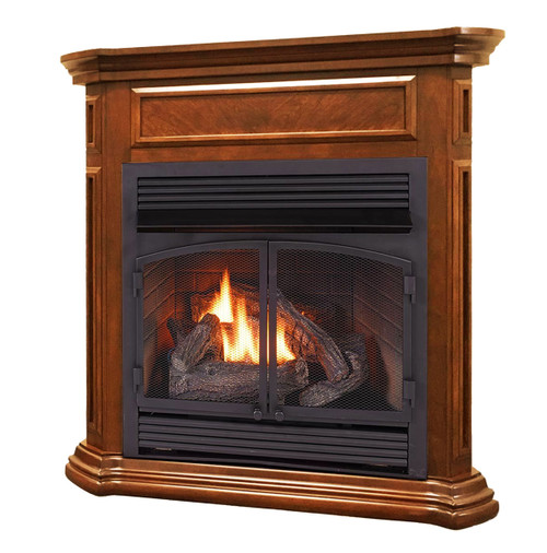Duluth Forge Dual Fuel Ventless Gas Fireplace - 32,000 BTU, Remote Control, Apple Spice Finish, Model DFS-400R-4AS (179211)