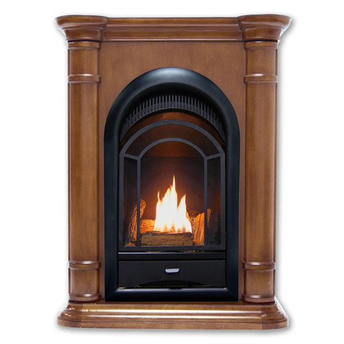HearthSense Dual Fuel Ventless Gas Fireplace - 15,000 BTU, T-Stat Control, Walnut Finish, Model HS150T-T-W (179244)