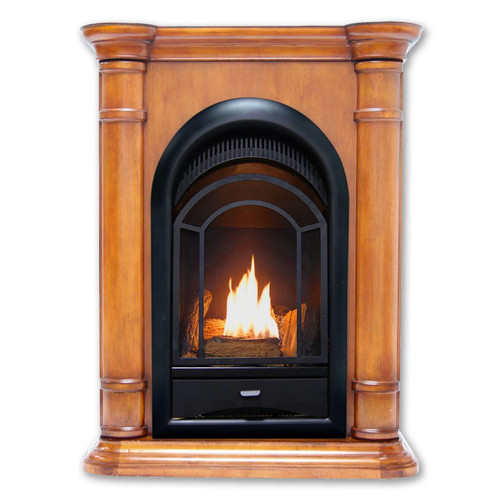 This dual fuel ventless fireplace system with mantel from HearthSense offers a classical look that makes a great addition to any home.