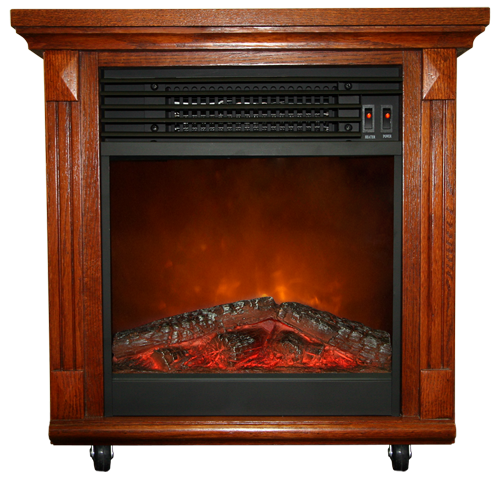 """20"""" Compact Cherry Oak Electric Fireplace With Caster Wheels ..."""