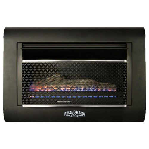 Bluegrass Living Dual Fuel Vent Free Linear Wall Gas Fireplace With Log - 26,000 BTU, T-Stat Control.