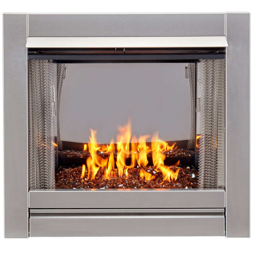 Bluegrass Living Vent-Free Stainless Outdoor Gas Fireplace Insert With Copper Fire Glass Media - 24,000 BTU - Model# BL450SS-G-RCO