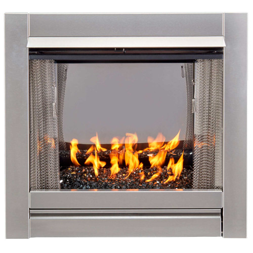Bluegrass Living Vent-Free Stainless Outdoor Gas Fireplace Insert With Black Fire Glass Media - 24,000 BTU - Model# BL450SS-G-RBLK