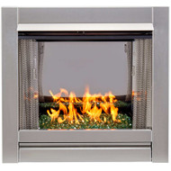 Bluegrass Living Vent-Free Stainless Outdoor Gas Fireplace Insert With Emerald Green Fire Glass Media - 24,000 BTU - Model# BL450SS-G-REM