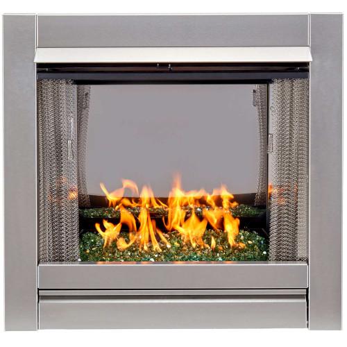 Bluegrass Living Vent-Free Stainless Outdoor Gas Fireplace Insert With Emerald Green Fire Glass Media - 24,000 BTU - Model# BL450SS-G-REM
