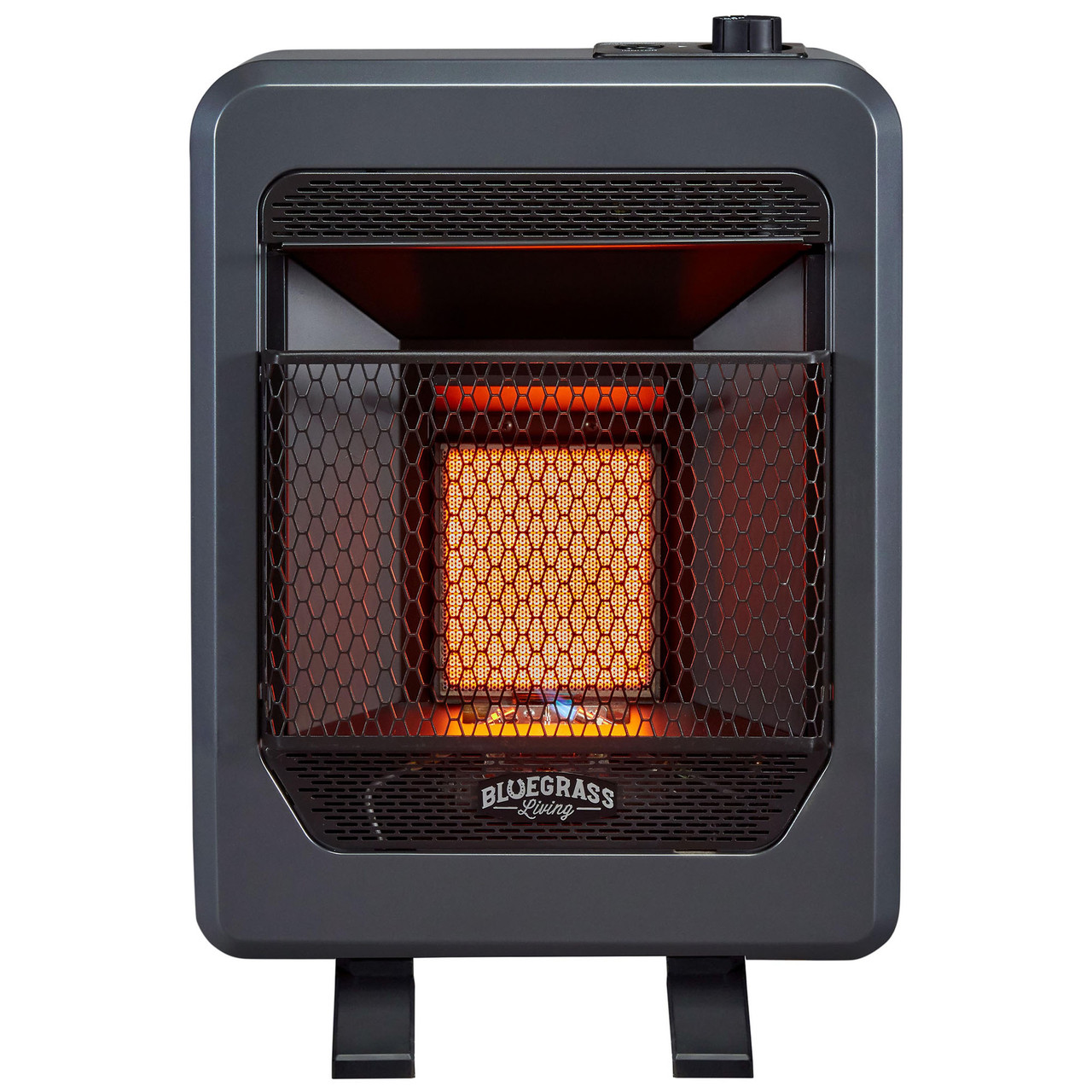 T-Stat Control Black Bluegrass Living Bluegrass B30TPB-BB Vent Free Blue Flame Gas Space Heater with Blower and Base Feet-30,000 BTU