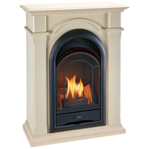ProCom's Dual Fuel Ventless Gas Fireplaces are an excellent alternative to traditional wood fireplaces. This fireplace with mantel features a stylish arched design complete with 10,000 BTU of dancing yellow flames and realistic looking hand painted logs.