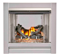 Duluth Forge  Vent Free Stainless Outdoor Gas Fireplace Insert With Fire Glass Media and Log Set - 24,000 BTU, Manual Control