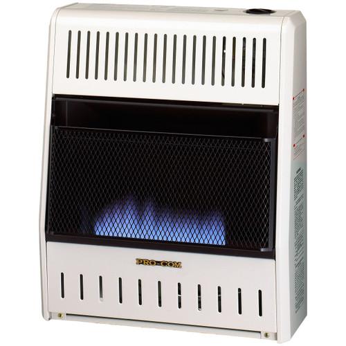 ProCom Heating Ventless Liquid Propane Gas Blue Flame Space Heater - 20,000 BTU, Manual Control