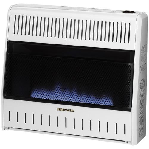 ProCom Heating Ventless Natural Gas Blue Flame Space Heater - 30,000 BTU, Manual Control