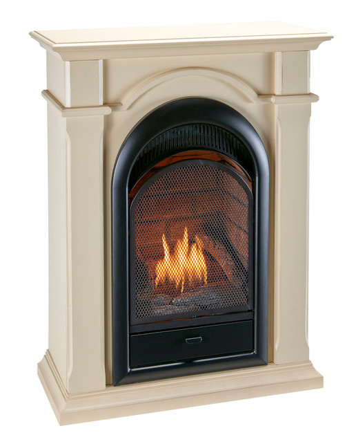 Duluth Forge's Dual Fuel Ventless Gas Fireplaces are an excellent alternative to traditional wood fireplaces. This fireplace with mantel features a stylish arched design with a beautiful ceramic brick liner complete with 15,000 BTU of dancing yellow flames and realistic looking hand painted logs.