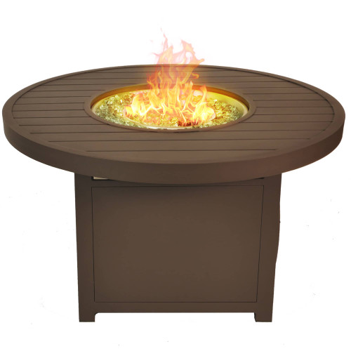 Bluegrass Living 42 Inch Outdoor Round Aluminum 50,000 BTU Propane Fire Pit Table with Crystal Glass Beads.