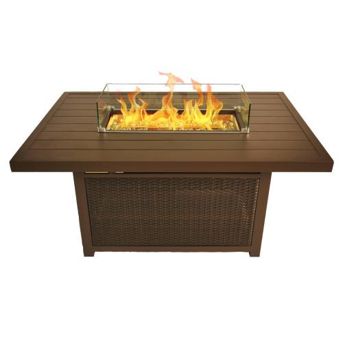 Bluegrass Living 52 Inch Outdoor Rectangular Aluminum 50,000 BTU Propane Fire Pit Table with Glass Wind Guard.