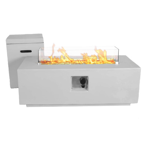 Bluegrass Living 42 Inch x 15 Inch Rectangular MGO Propane Fire Pit Table with Side Table Tank Storage.