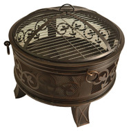 Bluegrass Living 26 Inch Steel Deep Bowl Fire Pit with Cooking Grid, Weather Cover, Spark Screen, and Poker - Model# BFPW26W-CC
