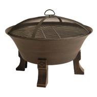 Bluegrass Living 26 Inch Cast Iron Deep Bowl Fire Pit with Cooking Grid, Weather Cover, Spark Screen, and Poker - Model# BFPW26D-CC