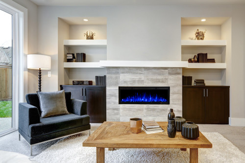 Bluegrass Living Slimline 50 Inch Wall Mount and Recessed Electric Fireplace.