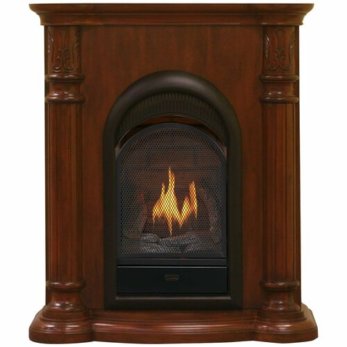 Bluegrass Living Vent Free Natural Gas Fireplace System - 10,000 BTU, T-Stat Control, Cherry Finish.