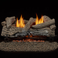 Bluegrass Living Vent Free Propane Gas Log Set - 24 Inch Traditional Oak, 32,000 BTU, Remote Control.