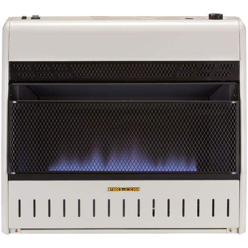 ProCom Reconditioned Tri-Fuel Vent-Free Blue Flame Heater - 30,000 BTU, Model# MTF30TBU