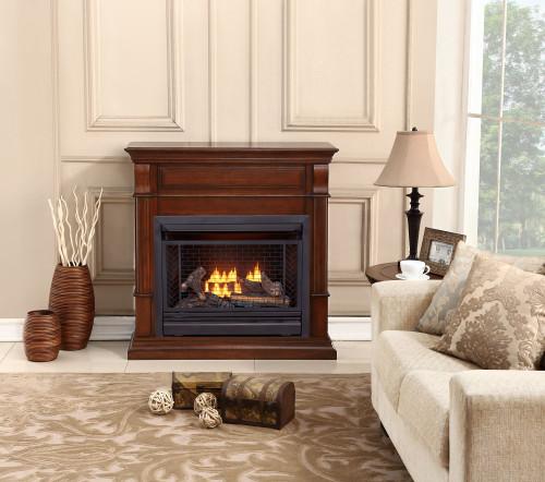 Bluegrass Living Vent Free Natural Gas Fireplace System - 26,000 BTU, Remote Control, Auburn Cherry Finish.
