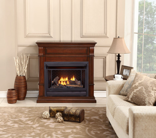 Bluegrass Living Vent Free Propane Gas Fireplace System - 26,000 BTU, Remote Control, Auburn Cherry Finish.