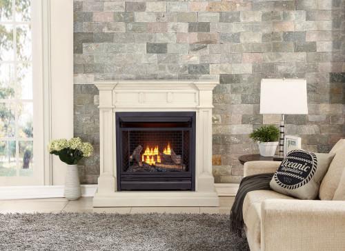 Bluegrass Living Vent Free Propane Gas Fireplace System - 26,000 BTU, Remote Control, Antique White Finish.