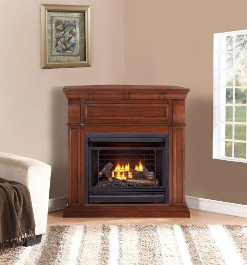 Bluegrass Living Vent Free Propane Gas Fireplace System - 26,000 BTU, Remote Control, Chestnut Oak Finish.