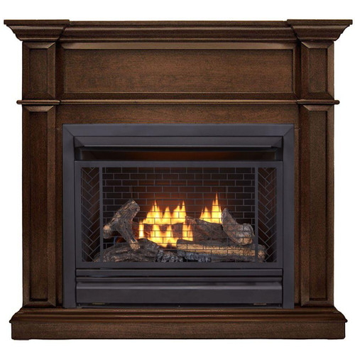 Bluegrass Living Vent Free Natural Gas Fireplace System - 26,000 BTU, Remote Control, Gingerbread Finish.