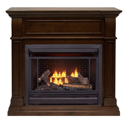 Bluegrass Living Vent Free Natural Gas Fireplace System - 26,000 BTU, Remote Control, Walnut Finish.