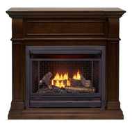Bluegrass Living Vent Free Propane Gas Fireplace System - 26,000 BTU, Remote Control, Walnut Finish.