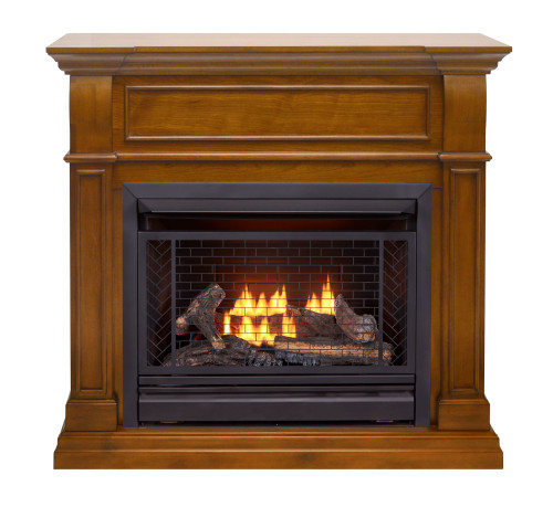 Bluegrass Living Vent Free Natural Gas Fireplace System - 26,000 BTU, Remote Control, Apple Spice Finish.