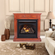 ProCom Dual Fuel Ventless Gas Fireplace With Mantel - 32,000 BTU, Remote Control, Heritage Cherry Finish - Model# FBNSD32RT-M-HC