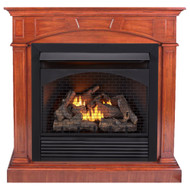 ProCom Dual Fuel Ventless Gas Fireplace With Mantel - 32,000 BTU, Remote Control, Heritage Cherry Finish.