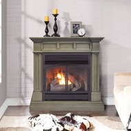 ProCom Dual Fuel Vent Free Gas Fireplace System - 32,000 BTU, T-Stat Control, Slate Gray Finish - Model# FBNSD400T-2GR