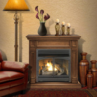 ProCom Dual Fuel Vent Free Gas Fireplace System - 32,000 BTU, T-Stat Control, Walnut Finish - Model# FBNSD400T-2W