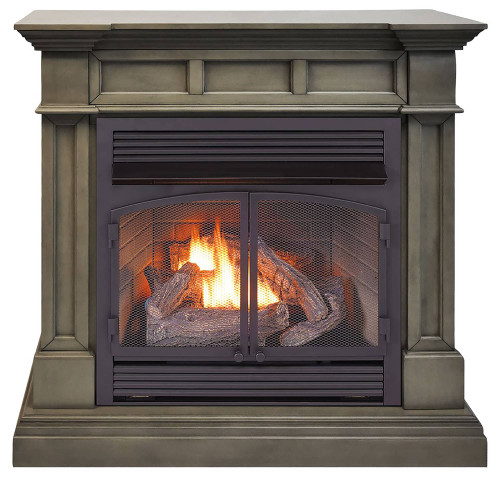 ProCom Dual Fuel Vent Free Gas Fireplace System - 32,000 BTU, Remote Control, Slate Gray Finish