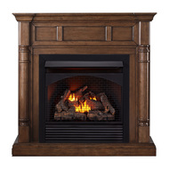 ProCom Full Size Dual Fuel Ventless Gas Fireplace With Mantel - 32,000 BTU, Remote Control, Walnut Finish - Model# FBNSD32RT-2WN
