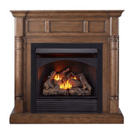 ProCom Full Size Dual Fuel Ventless Gas Fireplace With Mantel - 32,000 BTU, Remote Control.