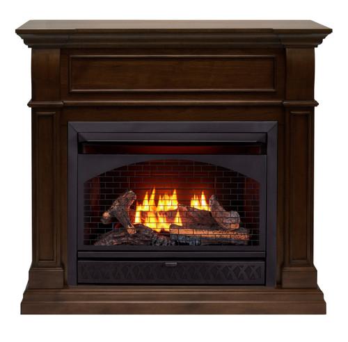 ProCom Dual Fuel Ventless Gas Fireplace - 26,000 BTU, T-Stat Control, Walnut Finish.