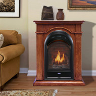 Bluegrass Living Vent Free Propane Gas Fireplace System - 10,000 BTU, T-Stat Control, Apple Spice Finish - Model# B100TP-1-AS