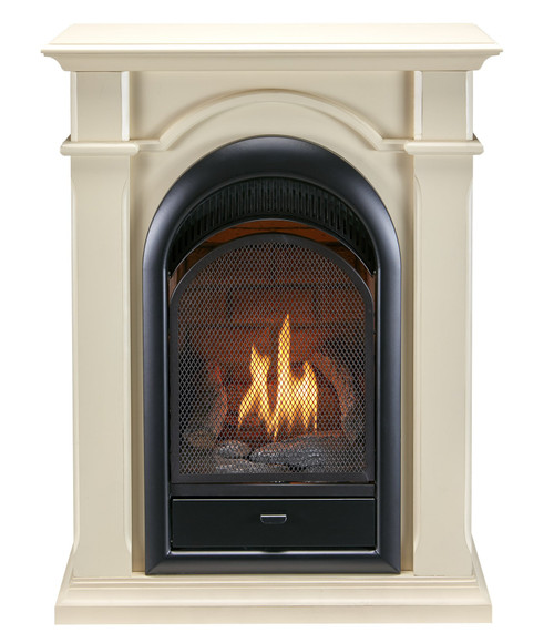 Bluegrass Living Vent Free Natural Gas Fireplace System - 10,000 BTU, T-Stat Control, Antique White Finish.