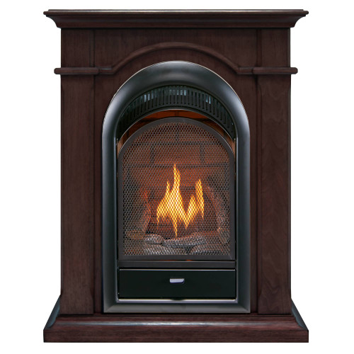 Bluegrass Living Vent Free Natural Gas Fireplace System - 10,000 BTU, T-Stat Control, Chocolate Finish.