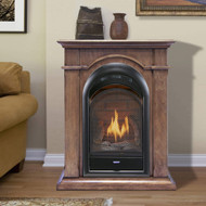 Bluegrass Living Vent Free Natural Gas Fireplace System - 10,000 BTU, T-Stat Control, Toasted Almond Finish.