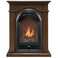 Vent Free Natural Gas Fireplace System - 10,000 BTU, T-Stat Control, Walnut Finish