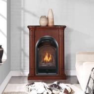 Bluegrass Living Vent Free Natural Gas Fireplace System - 10,000 BTU, T-Stat Control, Walnut Finish