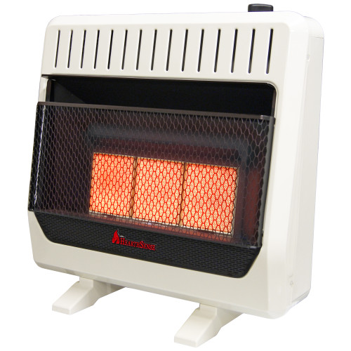 HearthSense Reconditioned Dual Fuel Ventless Infrared Plaque Heater with Base and Blower - 30,000 BTU, T-Stat Control.