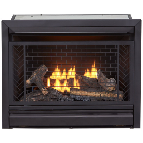 Bluegrass Living Vent Free Natural Gas Fireplace Insert - 26,000 BTU, Remote Control, Zero Clearance Design.